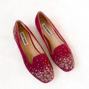 Steve Madden Burgundy Red Studded Loafers Size 6.5